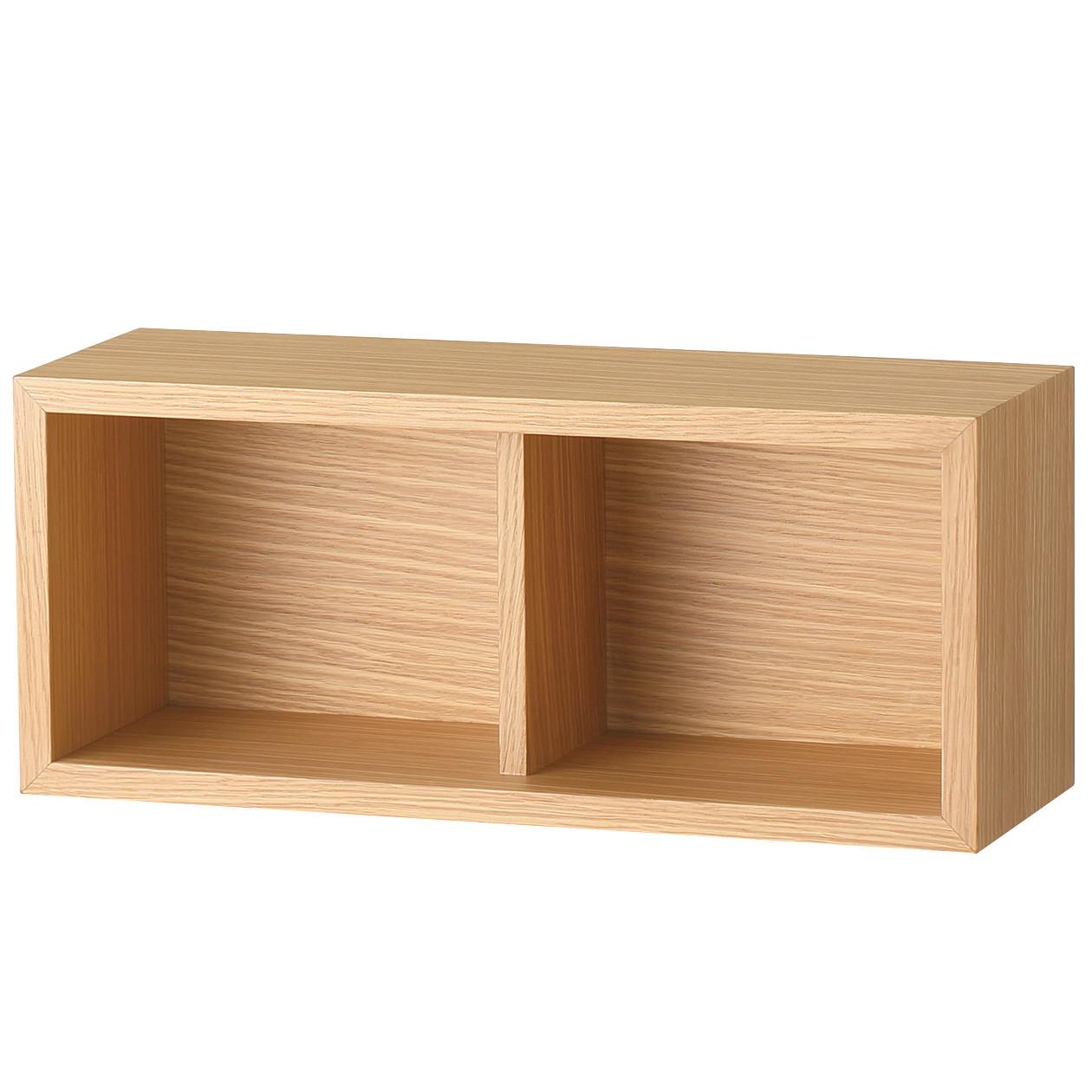 壁に付けられる家具・箱・幅44cm・オーク材 幅44×奥行15.5×高さ19cm