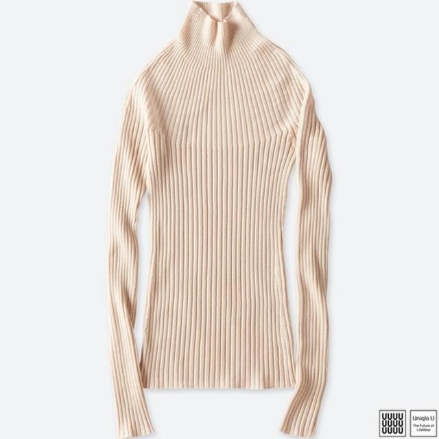 3Dメリノリブモックネックセーター