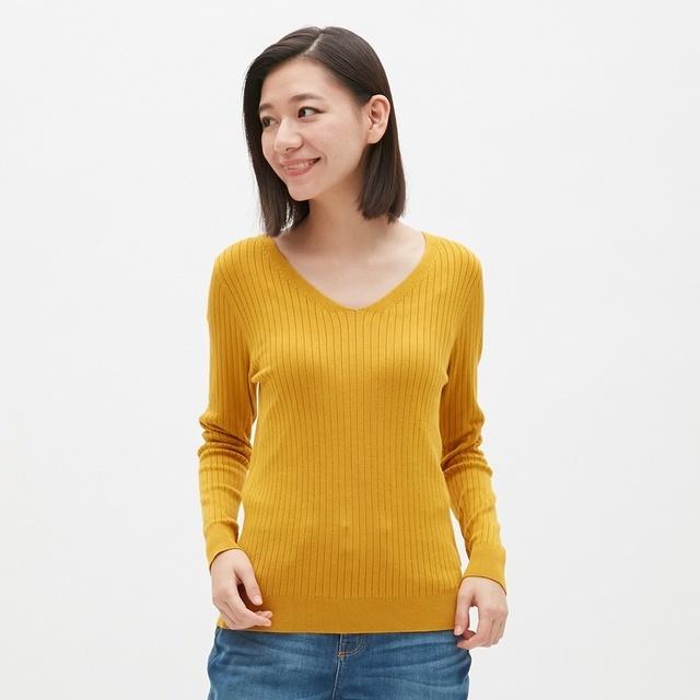 ワイドリブVネックセーター