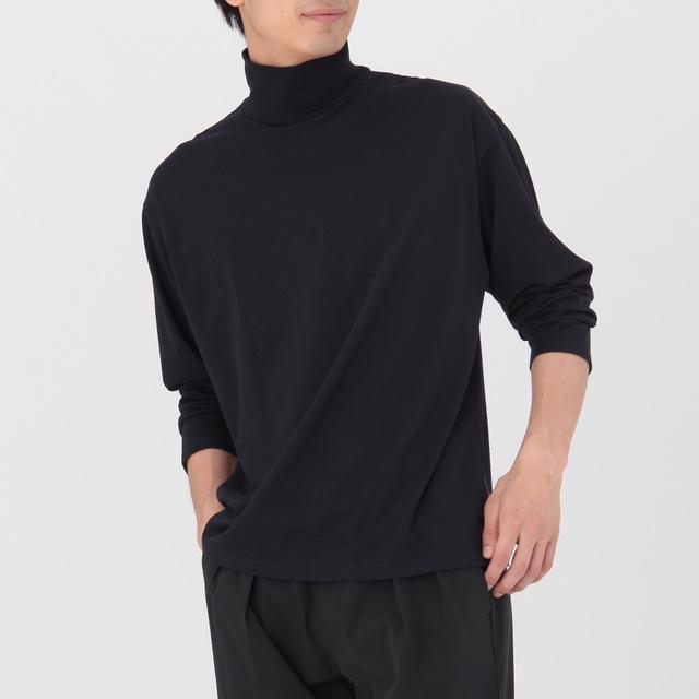 綿混ハイネックTシャツ