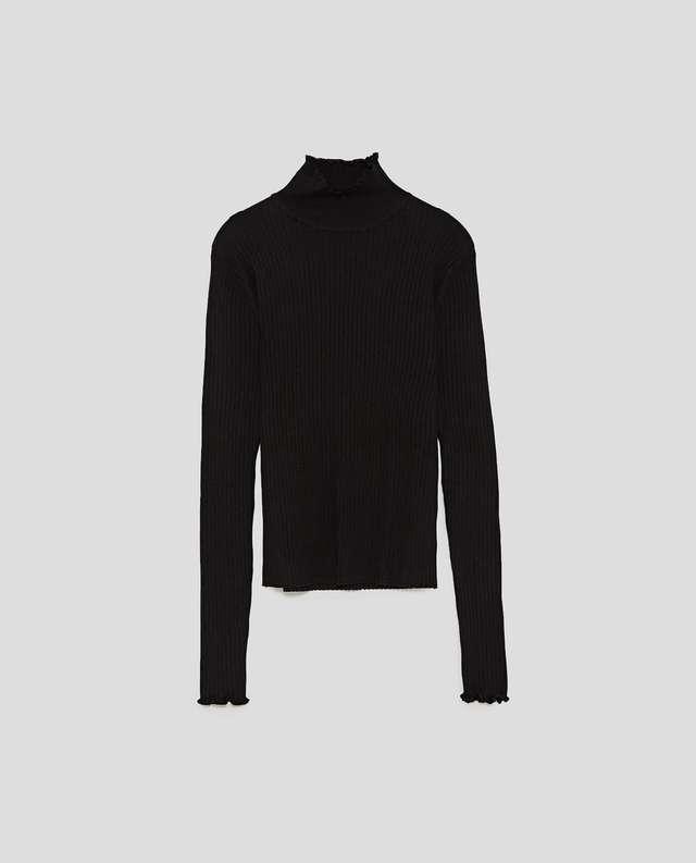スカラップディテール付きリブセーター