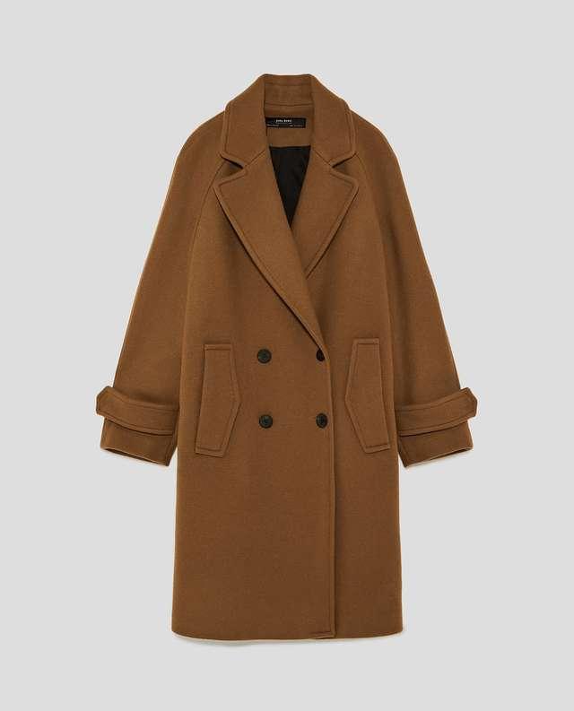 ダブルボタン付きロング丈コート