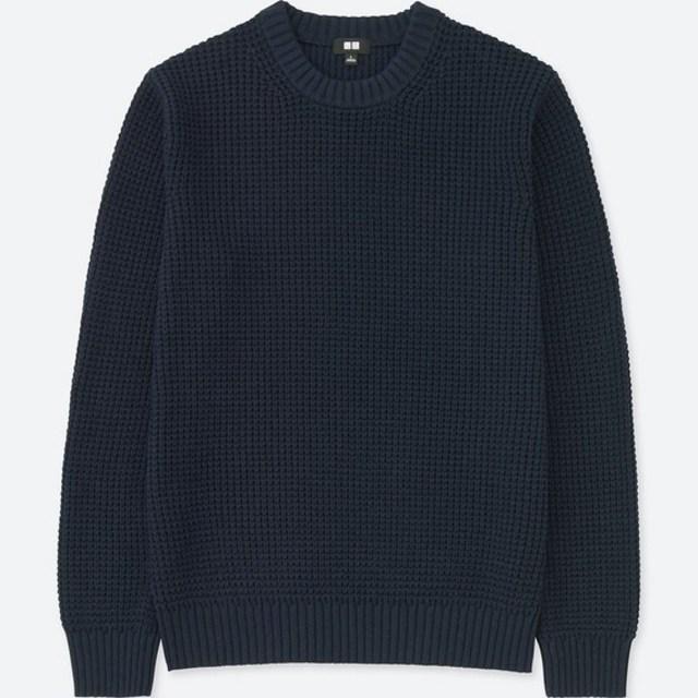 ワッフルクルーネックセーター