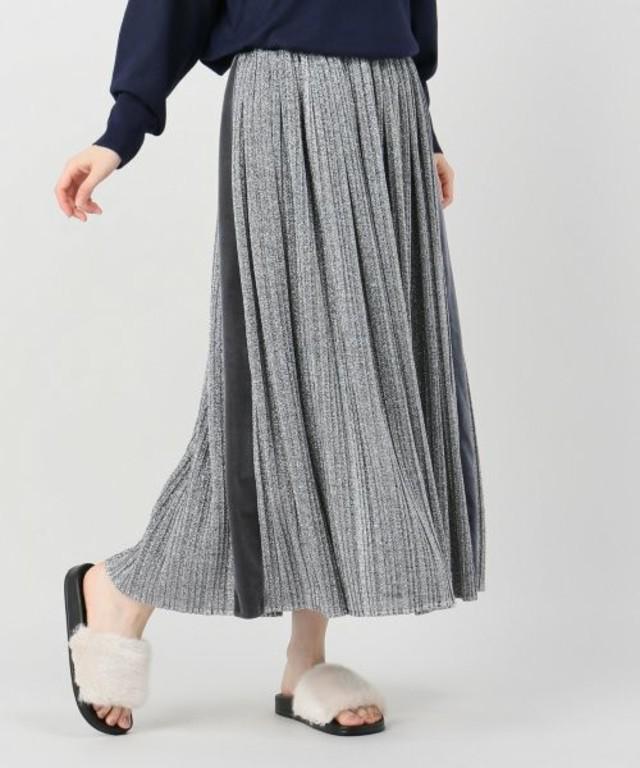 ラメプリーツ天竺マキシスカート