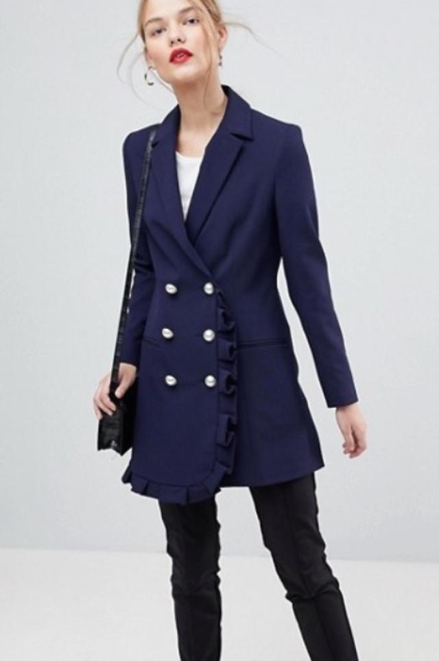 フリルデザインロングジャケット