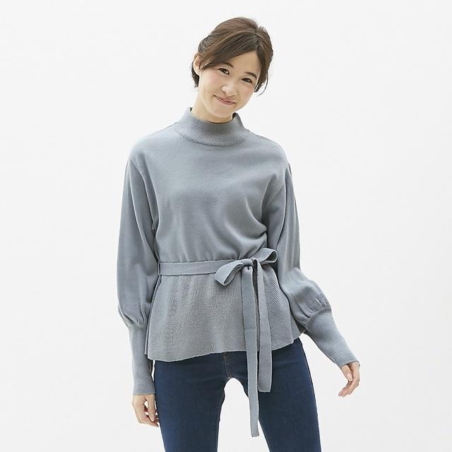 ウエストタイハイネックセーター(長袖)