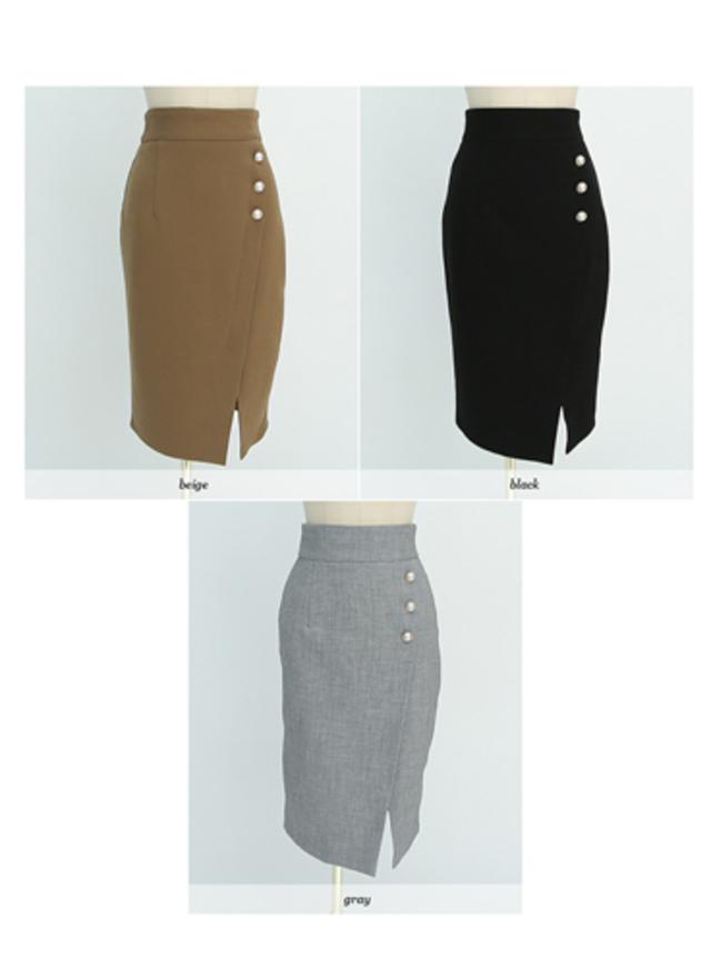 スローリーラブパールボタンスリットスカート