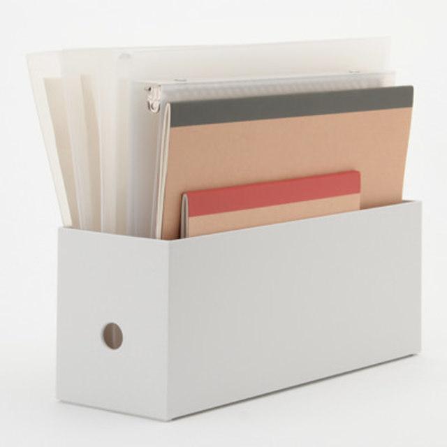 ポリプロピレンファイルボックス・スタンダードタイプ・ホワイトグレー・1/2 約幅10×奥行32×高さ12㎝