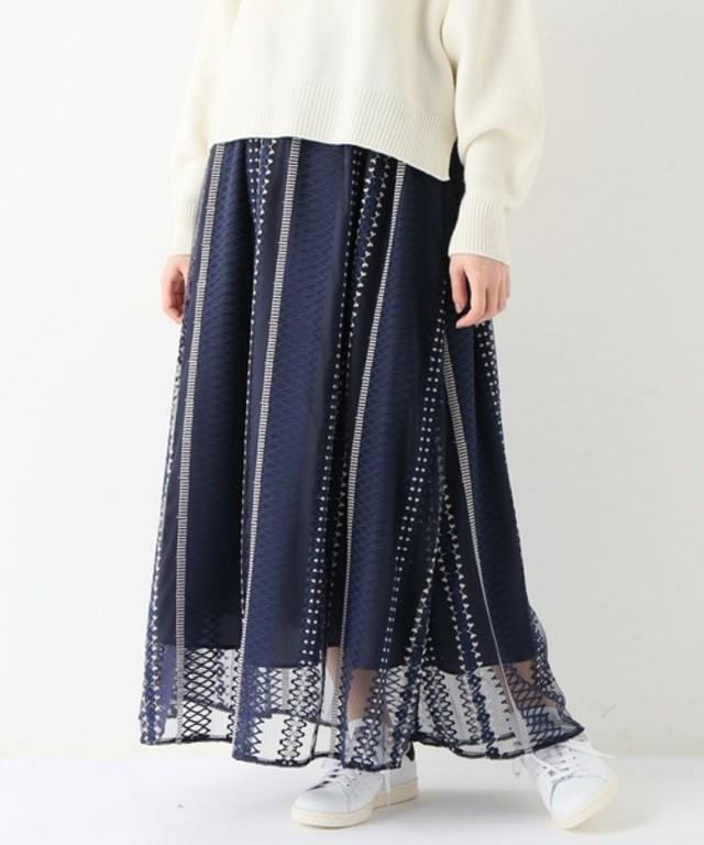 チュール刺繍ギャザースカート