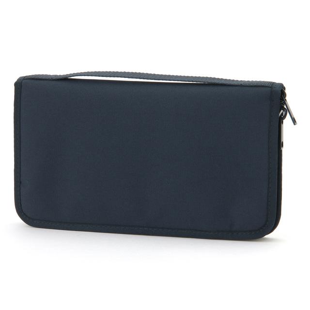 ポリエステルパスポートケース・クリアポケット付 ネイビー・約23.5×13×2.5