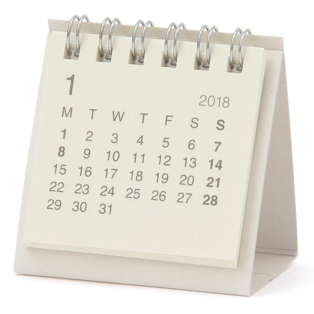 バガスペーパーデスクトップミニカレンダー・2018年 17年12月~18年12月