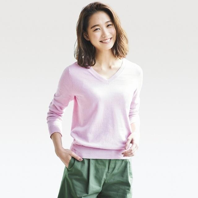 コットンカシミヤVネックセーター(長袖)