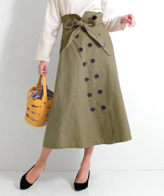ウエストリボンフレアトレンチスカート