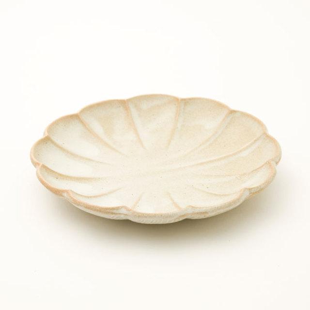 丸型取皿 しのぎ 白釉