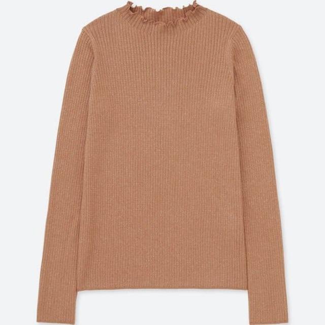 シャイニーリブフリルネックセーター(長袖)