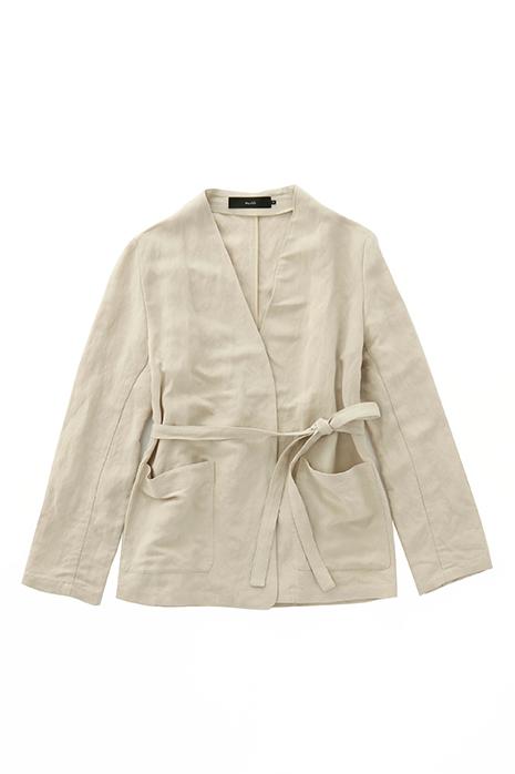 linen rayon poplin no collar jacket