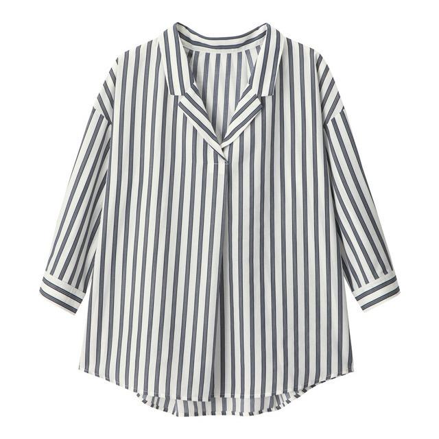 ストライプオープンカラーシャツ(7分袖)