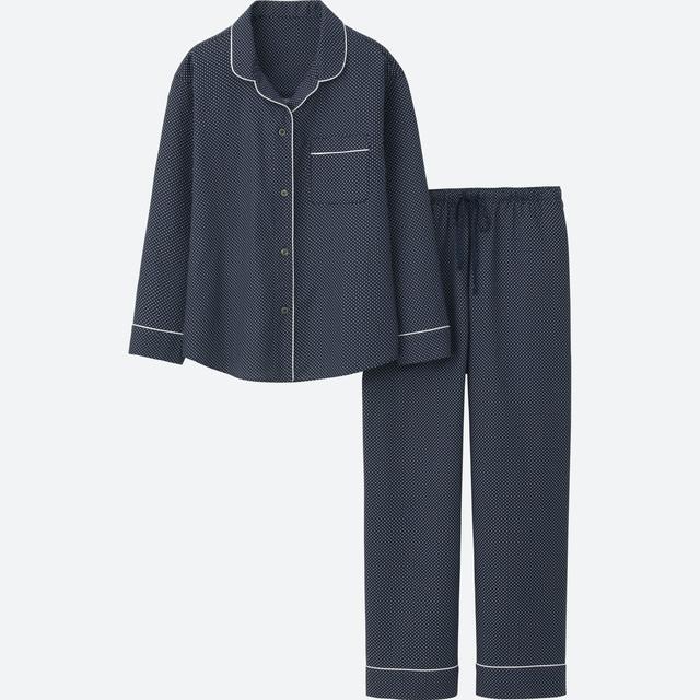 コットンプリントパジャマ(ドット・長袖)