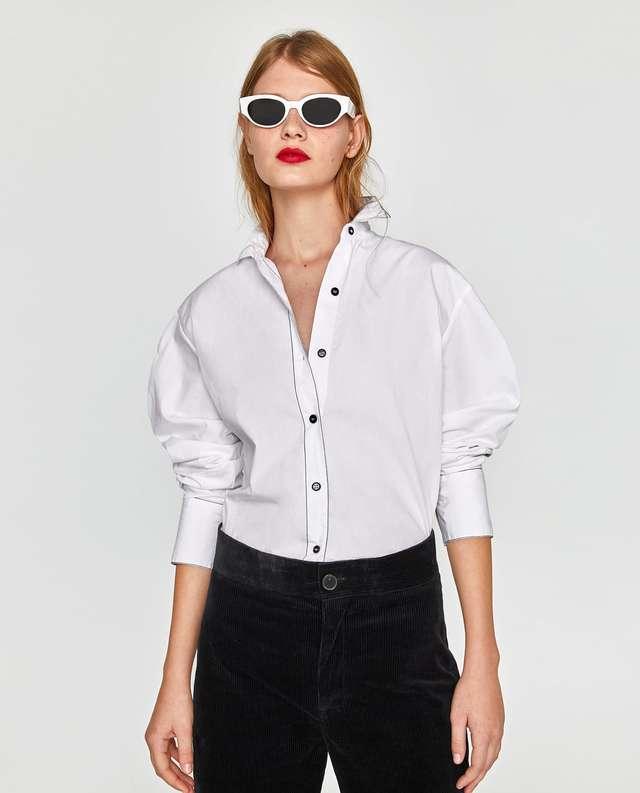 ストライプトリム付きシャツ