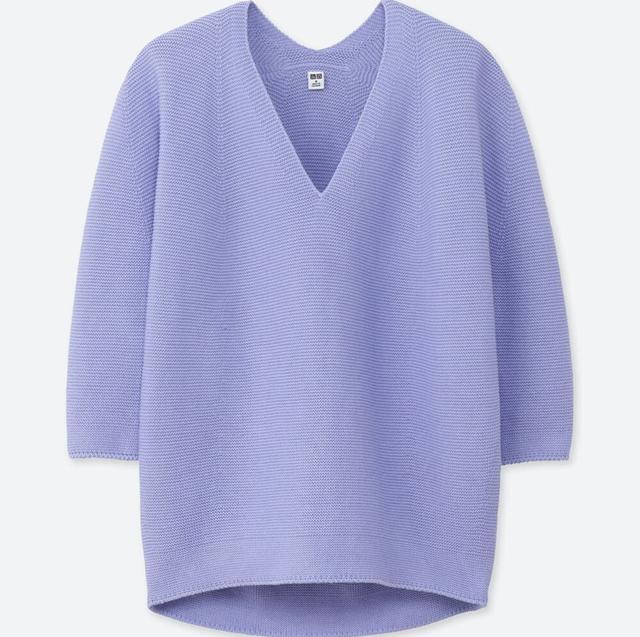 3DコクーンシルエットVネックセーター(七分袖)+