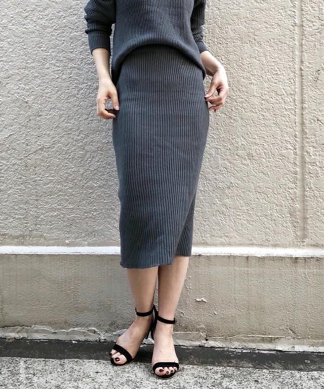 リブ編みニットタイトスカート