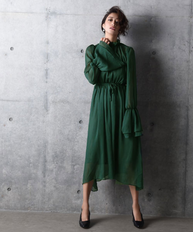 Frill Neck Long Onepiece