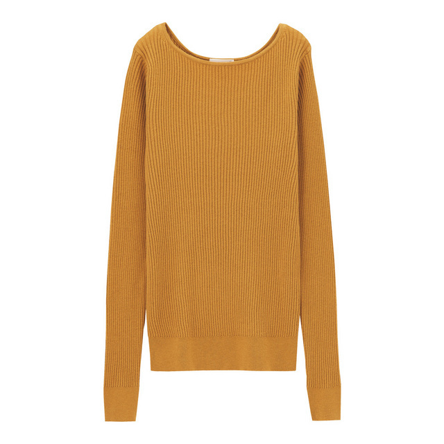 リブボートネックセーター