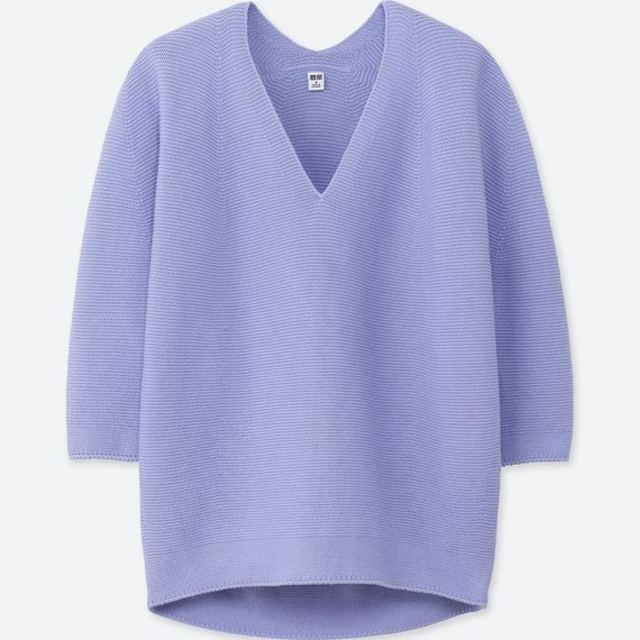 3DコクーンシルエットVネックセーター(7分袖)