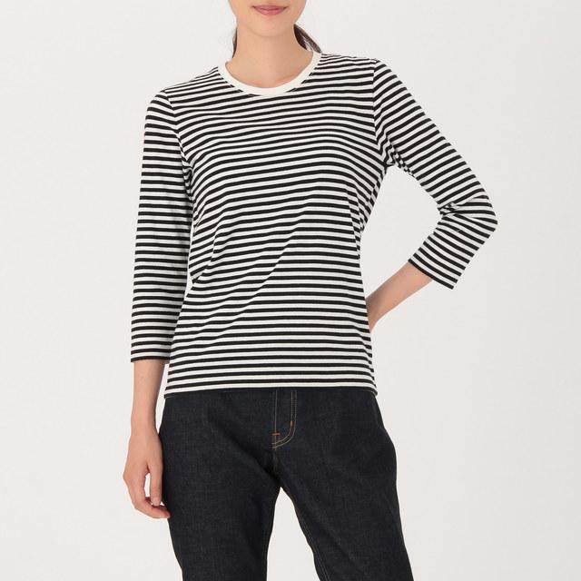 オーガニックコットン七分袖Tシャツ 婦人・白×黒