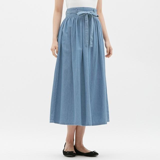 デニムウエストリボンフレアロングスカート