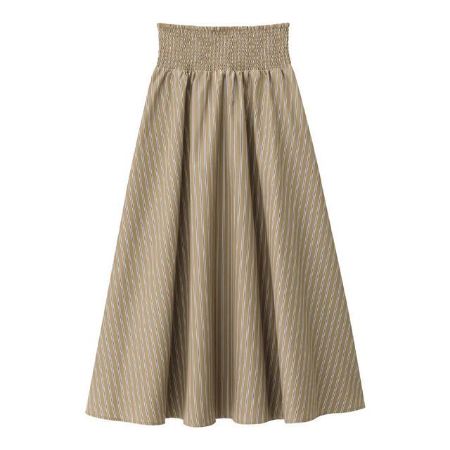 シャーリングフレアロングスカート