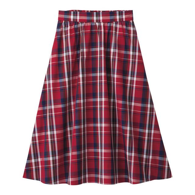マドラスチェックフレアミディスカート