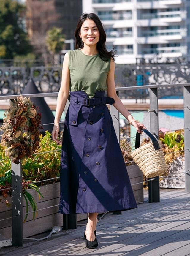 Aライン フレア トレンチスカート