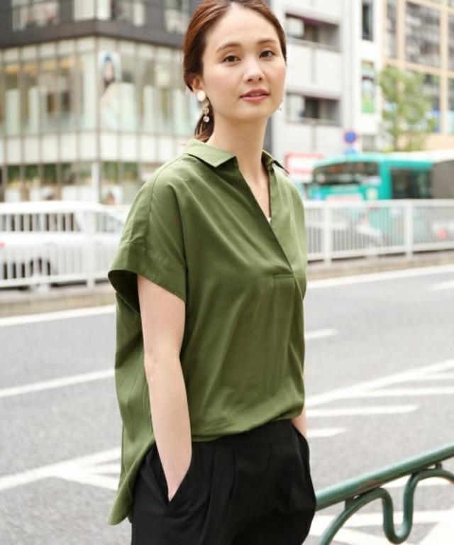 コットンレーヨンスキッパーシャツ半袖