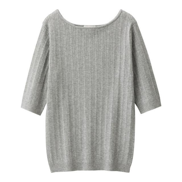 ワイドリブボートネックセーター(5分袖)