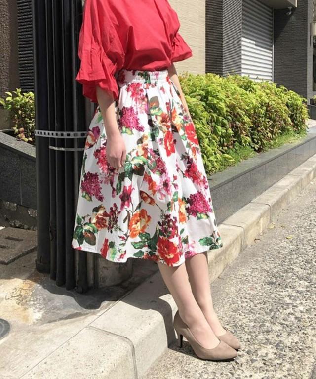 綿ブロードニュアンスフラワースカート