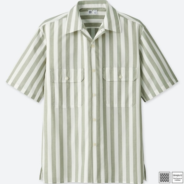ストライプオープンカラーシャツ