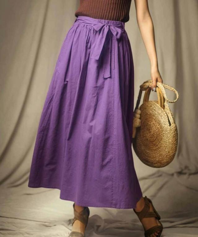 コットンリネンのロングギャザースカート