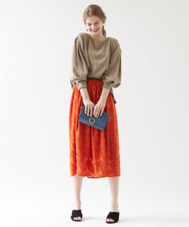 花柄ジャガードシフォンスカート