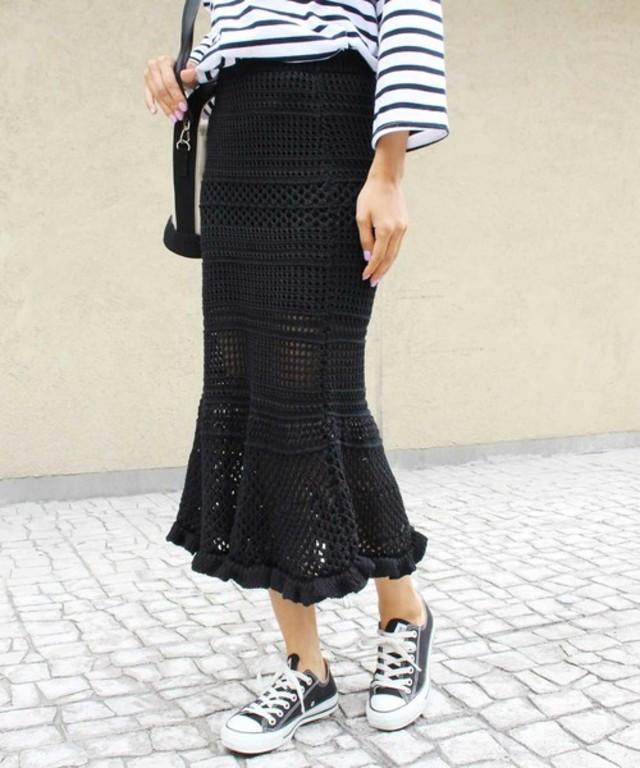 ニットカギ編みスカート