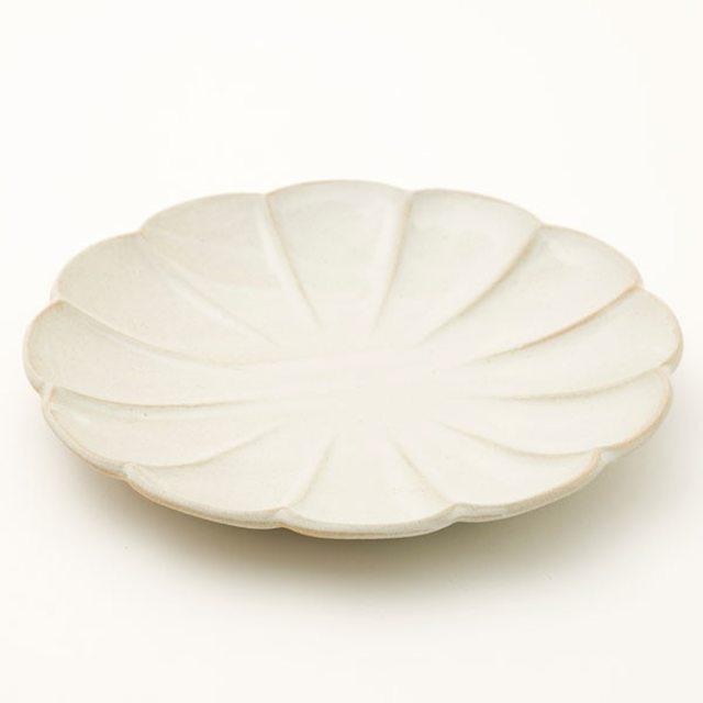 丸型大皿 しのぎ 白釉