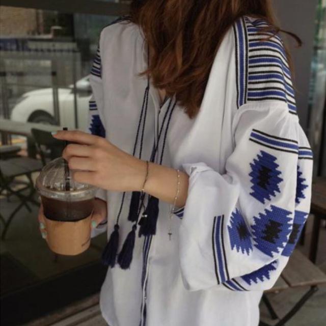 バルーン袖 刺繍 エスニック ブラウス