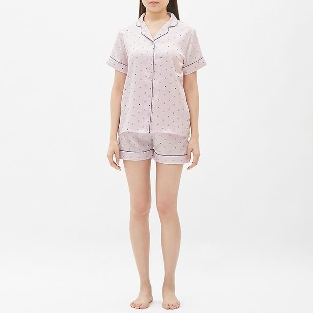 パジャマ(サテン・ハート)半袖&ショートパンツ
