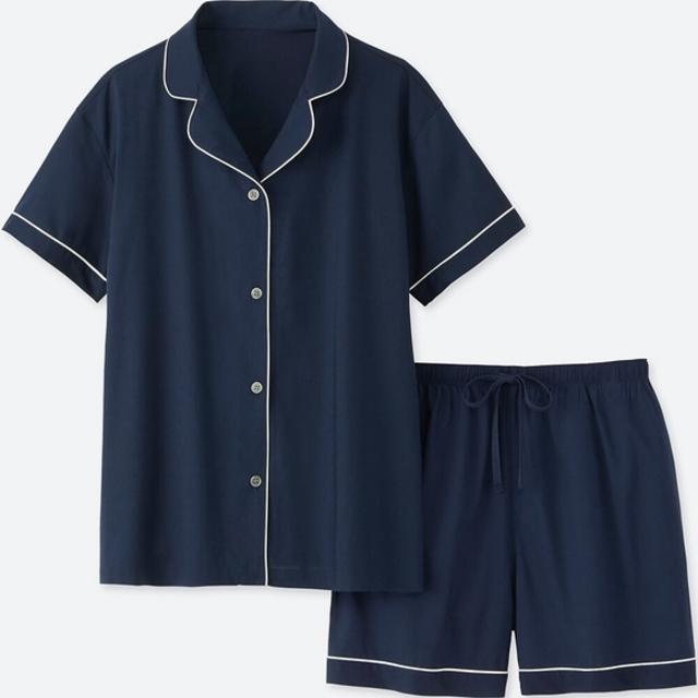 コットンストレッチパジャマ(パイピング・半袖)
