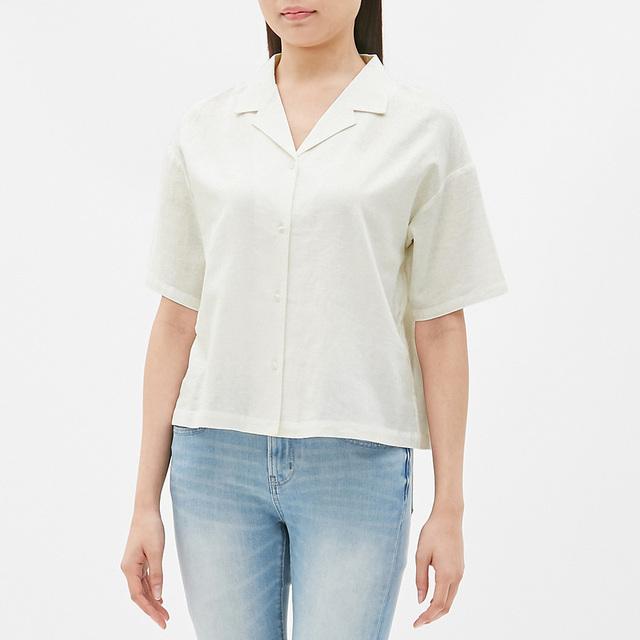 リネンブレンドオープンカラーシャツ(半袖)GN