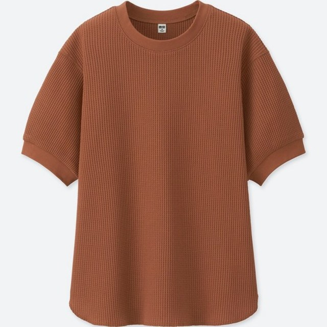 ワッフルクルーネックT(5分袖)
