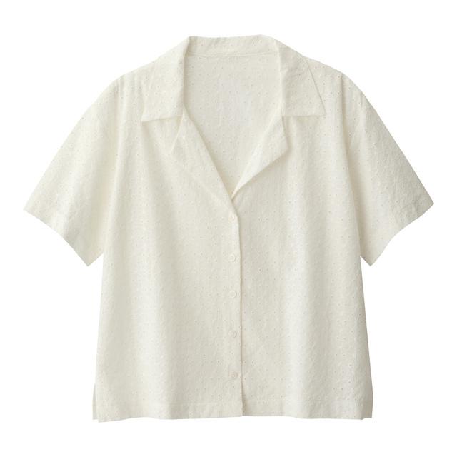 レースオープンカラーシャツ(半袖)