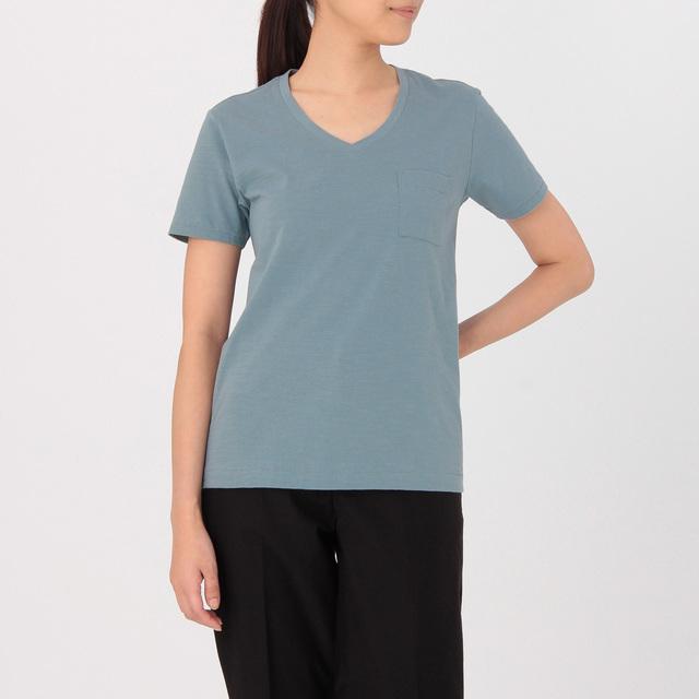 オーガニックコットンムラ糸Vネック半袖Tシャツ