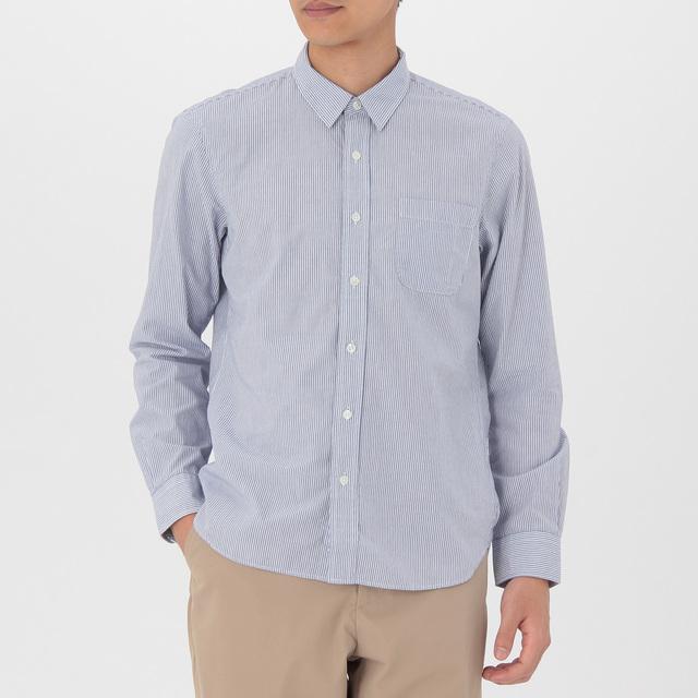 MEN オーガニックコットンブロードストライプシャツ