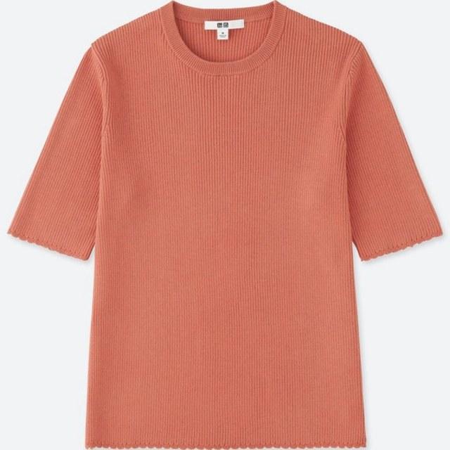 UVカットリブクルーネックセーター